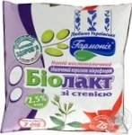 Fermented milk product Garmoniya Biolact with stevia enriched with beneficial microflora 2.5% 400g