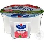 Творог Савушкин продукт 101 зерно+сливки зерненый 5% 105г малиновый наполнитель 25г пластиковый стакан Белоруссия