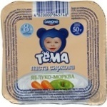 Cottage cheese Tema with carrot for children from 8 months 4.2% 50g plastic cup Ukraine