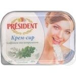 Крем-сыр Президент с укропом и петрушкой 18% 200г ванночка Украина