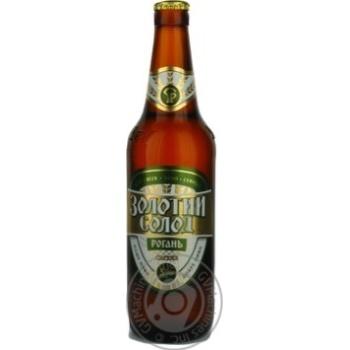 Пиво Рогань Золотой Солод светлое пастеризованное стеклянная бутылка 5%об. 500мл Украина