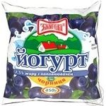 Йогурт Злагода Черника 1.5% 450г пленка Украина