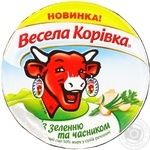 Cheese Vesela korivka with greens processed 50% 90g plastic cup
