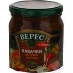 Овощи кабачки Верес консервированная 500г стеклянная банка Украина