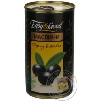 оливка Изи енд гуд черное с косточкой 370мл железная банка Испания