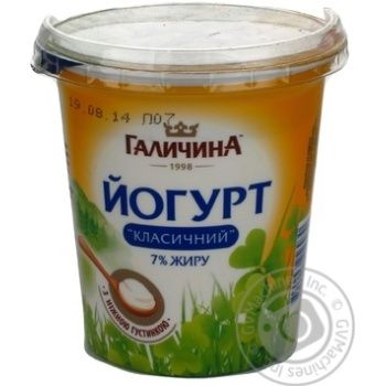 Йогурт Галичина Класичний 7% 330г пластиковий стакан Україна