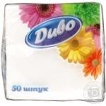Салфетки бумажные Диво белые однослойные 50шт