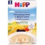 Каша детская ХиПП Кукурузная с фруктами с пребиотиками молочная без сахара с 5 месяцев 250г