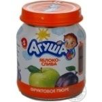 Puree Agusha plum for children from 5 months 115g glass jar