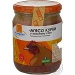 Мясо По-нашому курица стерилизованная 500г стеклянная банка Украина