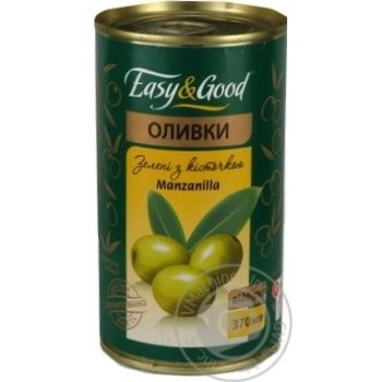 оливка Изи енд гуд Мансанилья зеленый с косточкой 370мл железная банка Украина