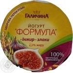 Yogurt Galychyna Formula fig-cereals 2.5% 200g plastic cup Ukraine