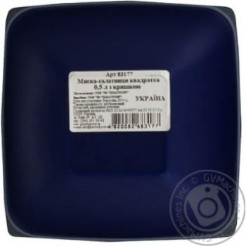 Миска-салатниця квадратна з кришкою Пластторг 0,5л 83177 - купити, ціни на Novus - фото 3