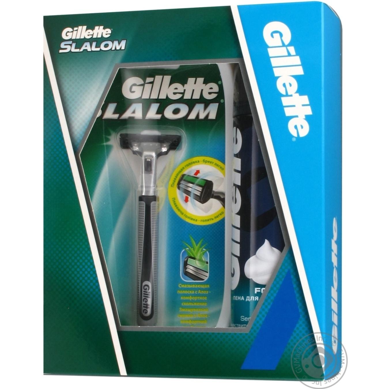 Подарочный набор Бритва Gillette Slalom + 1 картридж + Пена для бритья  Gillette Sensitive Skin для 43153ef44a472