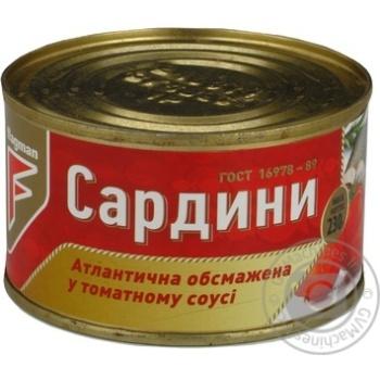 Сардина атлантична обсмажена в томатному соусі №5 Flagman з/б 230г