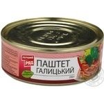 Pate Pervyi riad Galytskiy meat canned 250g can