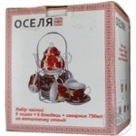 Чайний набір ОСЕЛЯ Червоні маки 6 чашок 220мл арт. 21-245-016