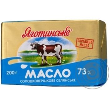 Скидка на Масло Яготинское Селянское сладкосливочное 73% 200г Украина