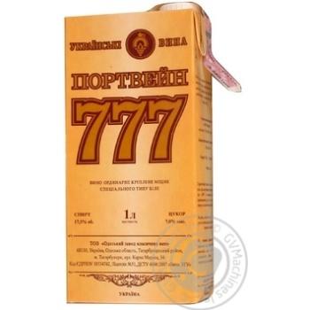Вино белое Крымские Вина Портвейн 777 Белый ординарное крепкое 17.5% тетрапакет 1000мл Украина - купить, цены на Ашан - фото 1
