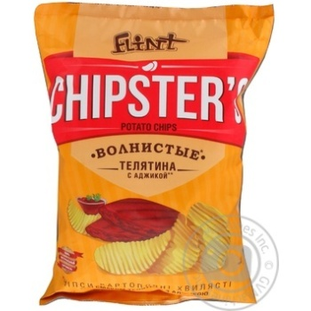 Flint Chipster's Potato Wavy Chips with Veal and Adjika Flavor 120g - buy, prices for Furshet - image 2