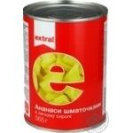 Ананасы Extra! кусочками в легком сиропе 565г