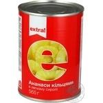 Ананасы Extra! кольцами в легком сиропе 565г
