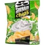 Чіпси натуральні Snekkin зі смаком сметани та зелені 65г