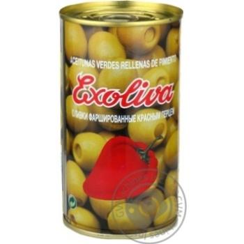 Оливки Exoliva зеленые фаршированные красным перцем 370мл