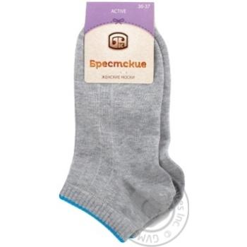 Шкарпетки жіночі Брестские Active укорочені 1301, розмір 23, 027 сірий меланж