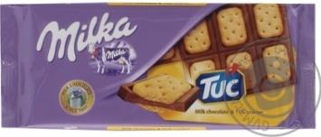Скидка на Шоколад Milka молочный с соленым крекером Tuc 87г