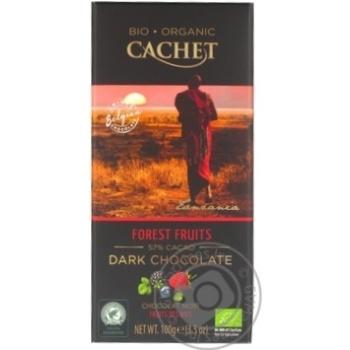 Шоколад черный Cachet органический с лесными ягодами 57% 100г