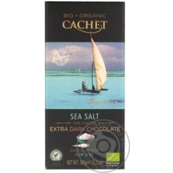Шоколад экстрачерный Cachet органический с морской солью 72% 100г