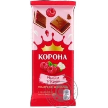 Шоколад молочный Корона с малиновой и кремовой начинками 85г - купить, цены на Novus - фото 3