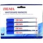 Маркеры для доски Sigma синие 4шт