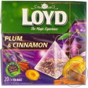 Чай фруктовий ароматизований зі сливою та корицею у пакетиках для разового заварювання Loyd 20*2г