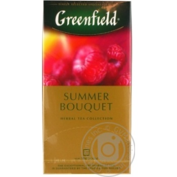 Herbal tea Greenfield Summer Bouquet with raspberry flavor and taste