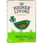Чай зелений зі спеціями органічний Higher Living Organic картон 40г, 20пакетиків