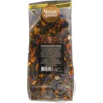 Чай зелений ароматизований з додаванням рослинної сировини зелений Ніч клеопатри Чайна країна 100 г пакет прозорий - купить, цены на Novus - фото 2