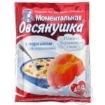 Каша овсяная Овсянушка с сахаром персиком и сливками быстрого приготовления 45г