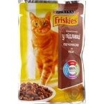 Food Friskies With liver pieces in gravy for adult cats 100g