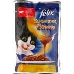 Корм для взрослых котов Felix Sensations Sauces говядина в соусе с томатами 100г