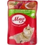 Корм Мяу! для взрослых котов желе С телятиной и овощами 100г