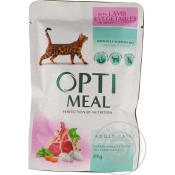 Корм Optimeal для взрослых кошек с ягненком и овощами в желе 85г - купить, цены на Ашан - фото 3