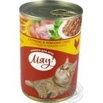 Корм Мяу! для дорослих котів з куркою в ніжному соусі 415г - купити, ціни на Novus - фото 1