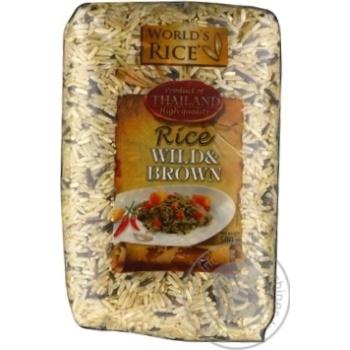 Рис World's Rice суміш нешліфованого довгозернистого та дикого 500г
