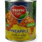 Fruit pineapple Tropic life in syrup 836g can