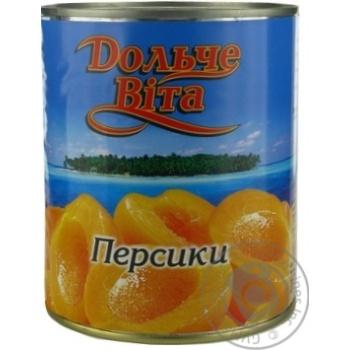 Персики Дольче Вита половинки 820г