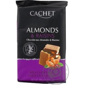 Шоколад молочный Cachet миндаль и изюм 300г