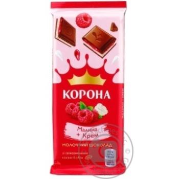Шоколад молочный Корона с малиновой и кремовой начинками 85г - купить, цены на Novus - фото 1