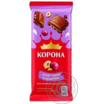 Шоколад молочный Корона с изюмом и измельченными лесными орехами 85г - купить, цены на Таврия В - фото 1